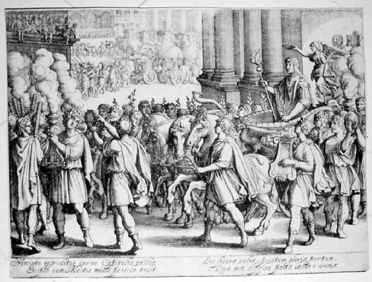 Ingresso trionfale di Scipione, Ingresso trionfale di Scipione l'Africano (stampa smarginata, elemento d'insieme) di Merian Matthaus il Vecchio, Tempesta Antonio (prima metà sec. XVII)