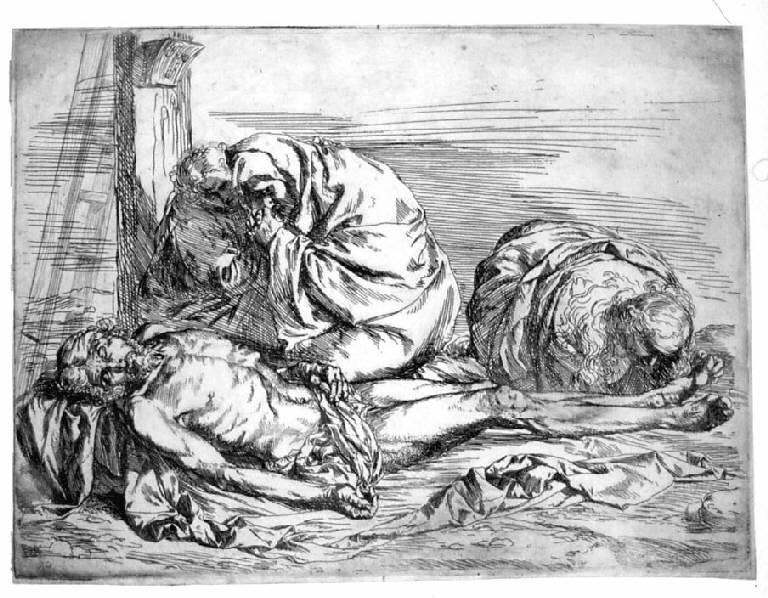 Compianto sul corpo di Cristo, Compianto sul Cristo morto (stampa) di Ribera Jusepe de detto Spagnoletto, Ribera Jusepe de detto Spagnoletto (sec. XVII)