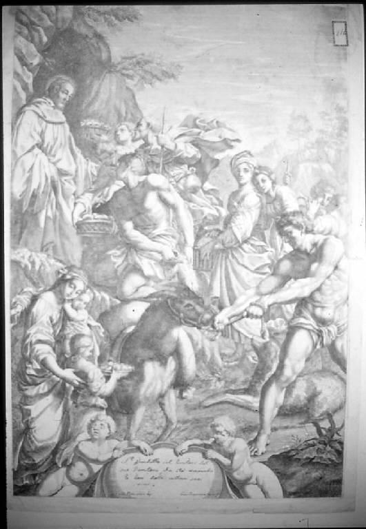 San Benedetto riceve doni dagli abitanti dei dintorni del convento, San Benedetto riceve doni dagli abitanti dei dintorni del convento (stampa, elemento d'insieme) di Giovannini Giacomo Maria, Reni Guido (sec. XVII)