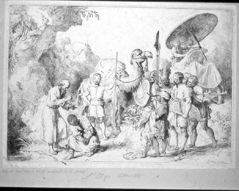 Filippo battezza l'eunuco etiope (stampa) di Diebricy (sec. XVIII)