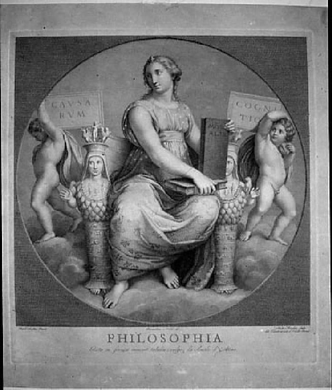 Allegoria della Filosofia (stampa) di Morghen Raffaello, Nocchi Bernardino, Sanzio Raffaello (sec. XVIII)