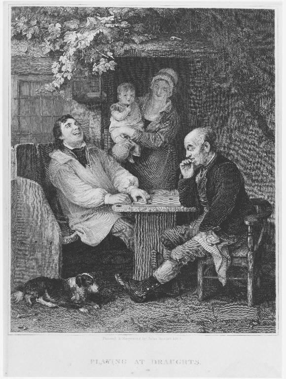 Giocatori di dama (stampa smarginata) di Burnet John, Burnet John (sec. XIX)