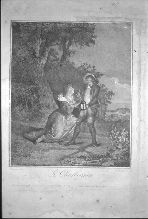 Incontro notturno di una giovane coppia (stampa) di Maradan François, Dralling (secc. XVIII/ XIX)