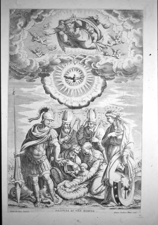 Sacra Famiglia con santi (stampa smarginata) di Scultori Adamo, Pippi Giulio detto Giulio Romano (sec. XVI)