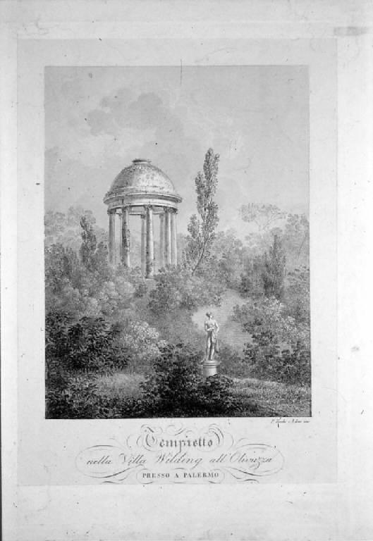 Veduta del tempietto di Villa Wilding all'Olivuzza a Palermo (stampa) di Toschi Paolo, Isac Antonio (sec. XIX)