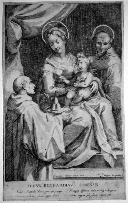 Madonna in trono con Bambino e san Francesco e san Bernardino da Siena (stampa smarginata) di Grispoldi Gaspare, Vanni Francesco (prima metà sec. XVII)