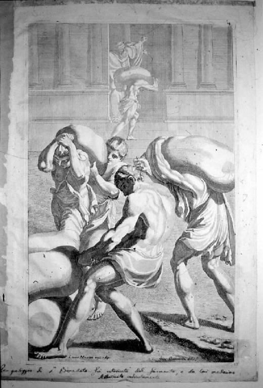 San Benedetto fa trasportare dei sacchi di frumento nel monastero, San Benedetto fa trasportare sacchi di frumento nel monastero (stampa, elemento d'insieme) di Giovannini Giacomo Maria, Giovannini Giacomo Maria, Massari Lucio (sec. XVII)
