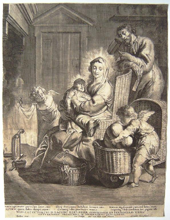 Sacra Famiglia con angeli (stampa) di Does Antony van der, Quellin Erasmus II (sec. XVII)
