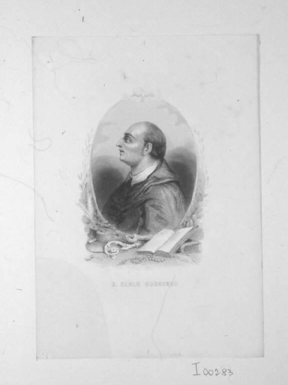 San Carlo Borromeo (stampa smarginata) di Geoffroy Nicolas Charles, Geoffroy Nicolas Charles (prima metà sec. XIX)