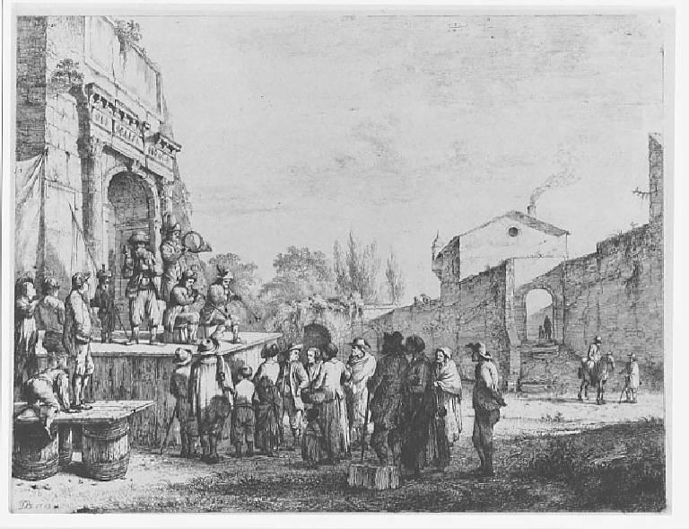 I piccoli ciarlatani, Folla adunata intorno a musici e ciarlatani (stampa) di Boissieu Jean Jacques de, Boissieu Jean Jacques de (sec. XVIII)