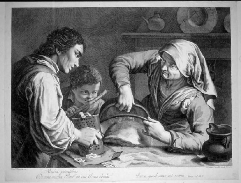 Contadini al desco con polenta e formaggio (stampa) di Cavalli Nicolò, Maggiotto Francesco (secc. XVIII/ XIX)