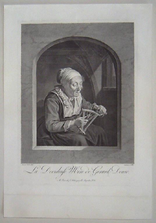 Donna anziana che fila (stampa) di Wille Johann Georg, Dou Gerrit (sec. XVIII)