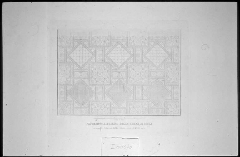 Pavimento musivo delle Terme di Ostia (stampa) - scuola italiana (sec. XIX)