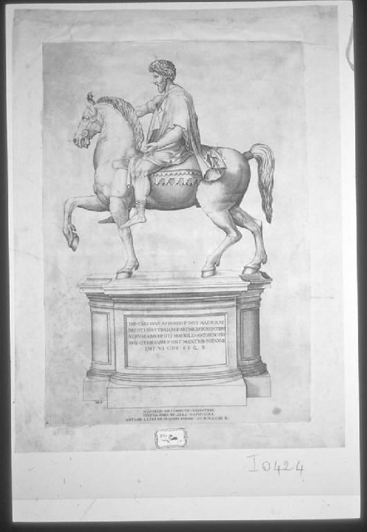 Marco Aurelio, Statua equestre dell'imperatore Marco Aurelio (stampa smarginata) di Beatrizet Nicolas detto Beatricetto (sec. XVIII)
