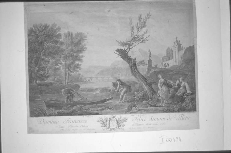 Paesaggio fluviale con pescatori e contadine (stampa smarginata) di Aliamet Jean Jacques, Vernet Claude Joseph (sec. XVIII)
