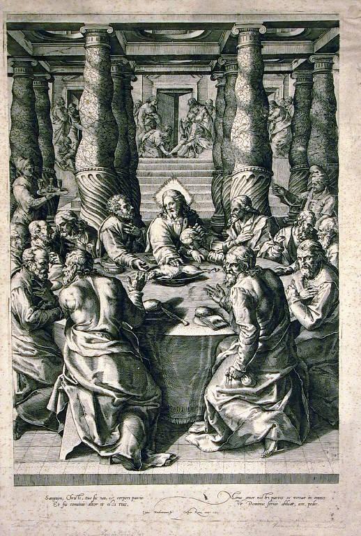 Ultima cena (stampa) di Agresti Livio, Cort Cornelis - scuola fiamminga (sec. XVI)