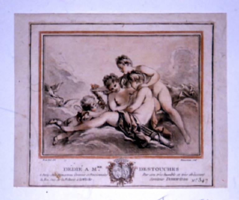 Le tre Grazie e Cupido, Tre Grazie e Cupido (stampa a colori) di Demarteau Gilles, Boucher François (terzo quarto sec. XVIII)