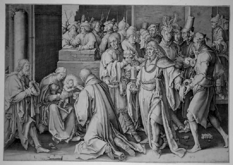 Adorazione dei Magi (stampa smarginata) di Hugenszoon Lucas detto Luca di Leida, Hugenszoon Lucas detto Luca di Leida (sec. XVI)
