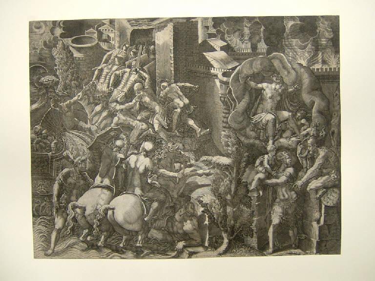 La caduta di Troia, Caduta di Troia (stampa smarginata) di Scultori Giovanni Battista, Scultori Giovanni Battista (sec. XVI)