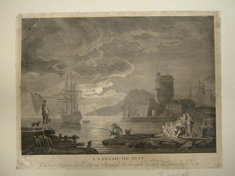 La pesca notturna, Marina notturna con pescatori (stampa smarginata) di Vernet Claude Joseph - scuola francese (sec. XVIII)
