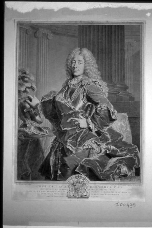 Ritratto di Conrad Detlev A. Dehn conte del Sacro Romano Impero (stampa) di Chereau Francois I, Rigaud Hyacinthe (sec. XVIII)