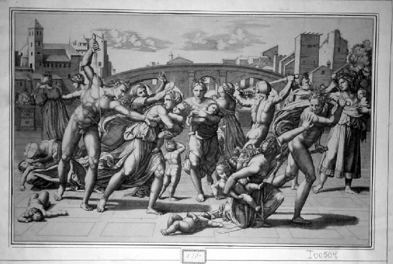 Strage degli innocenti (stampa smarginata) di Raimondi Marcantonio, Sanzio Raffaello, Dente Marco (sec. XVI)