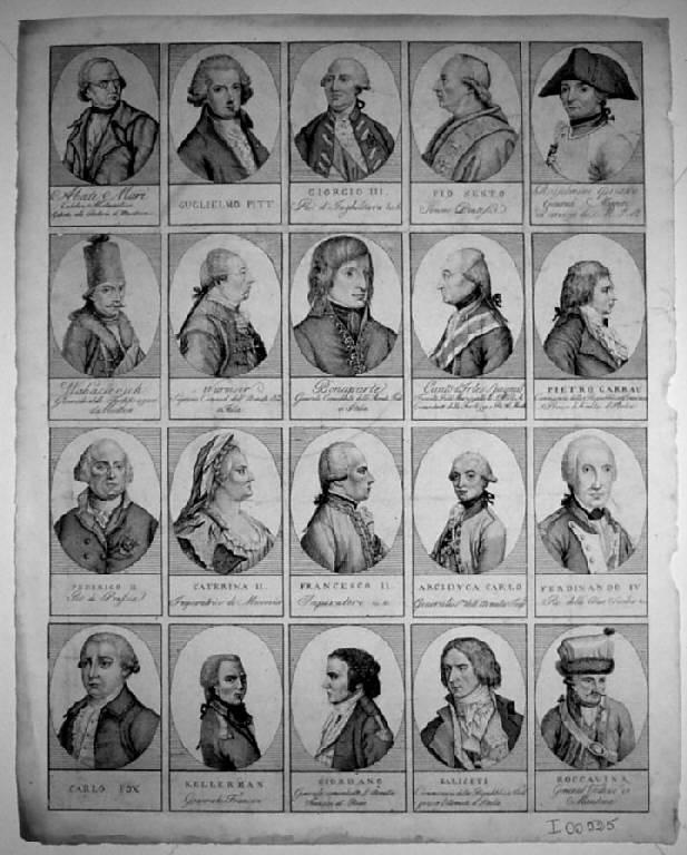 Ritratto maschile/ Ritratto femminile (stampa smarginata) - scuola italiana (fine sec. XVIII)