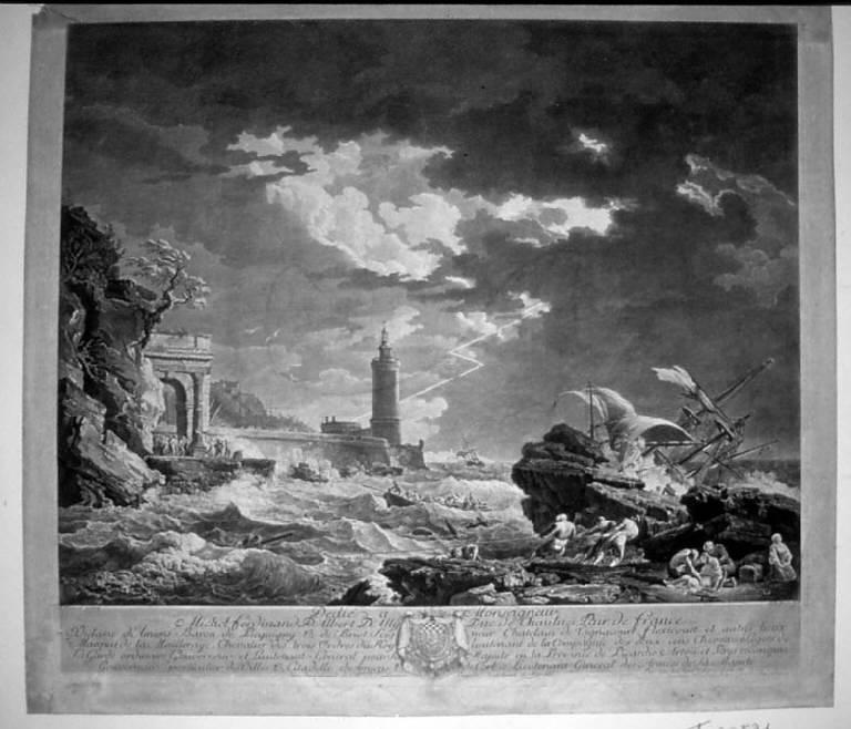 La tempesta, Marina con tempesta e nave naufragata (stampa) di Balechou Jean Joseph, Vernet Claude Joseph (sec. XVIII)