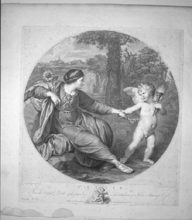 Clizia, Clizia (stampa smarginata) di Bartolozzi Francesco, Bartolozzi Francesco, Carracci Annibale (sec. XVIII)