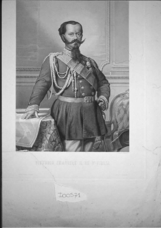 Ritratto di Vittorio Emanuele II re d'Italia (stampa) di Bonaini Gustavo, Mussini Luigi (sec. XIX)