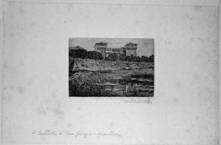 Il Castello di San Giorgio - Mantova, Veduta di Mantova: Castello di S. Giorgio (stampa smarginata) di Carbonati Antonio, Carbonati Antonio, Carbonati Antonio (sec. XX)