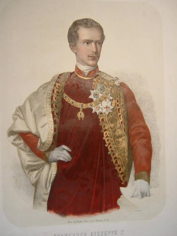 Francesco Giuseppe I° imperatore d'Austria, Ritratto di Francesco Giuseppe I imperatore d'Austria (stampa colorata a mano) di Vallardi Antonio, Vallardi Antonio (sec. XIX)