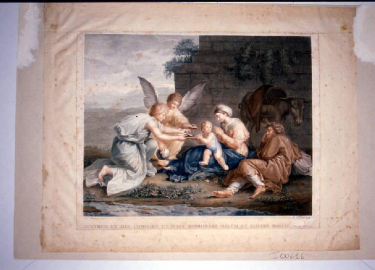 Riposo nella fuga in Egitto con angeli (stampa a colori ritoccata a mano) di Vedovato Pietro, Poussin Nicolas (secc. XVIII/ XIX)