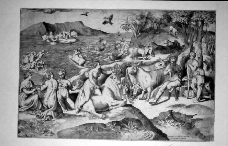 Ratto di Europa (stampa smarginata) di Bonasone Giulio, Sanzio Raffaello (sec. XVI)