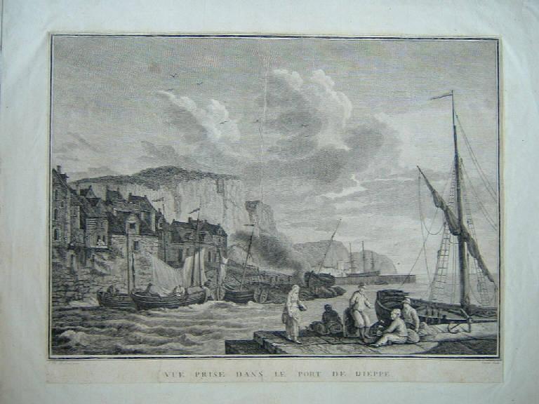 Vista presa dal porto di Dieppe, Veduta del porto di Dieppe (stampa smarginata) di Canale Giuseppe, Hackert Jacob-Philipp (seconda metà sec. XVIII)