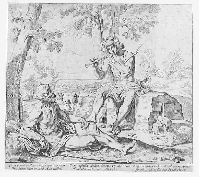 Mercurio e Argo (stampa smarginata) di Cantarini Simone detto Pesarese - scuola italiana (metà sec. XVII)