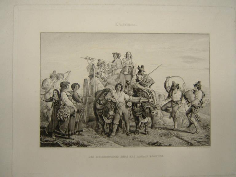 I mietitori nella campagna pontina, Mietitura (stampa) di Mercuri Paolo detto Paul, Mercuri Paolo detto Paul, Robert Leopold (sec. XIX)