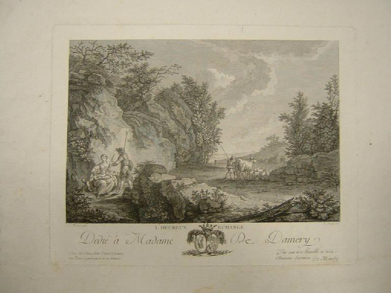 Lo scambio vantaggioso, Paesaggio con scena pastorale (stampa) di de Monchy Martin, Wagner Joseph (sec. XVIII)