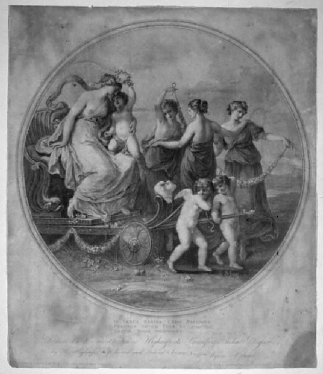 Venere sul suo carro, Trionfo di Venere (stampa smarginata) di Ryland William Winne, Kauffmann Maria Anna Angelica (sec. XIX)