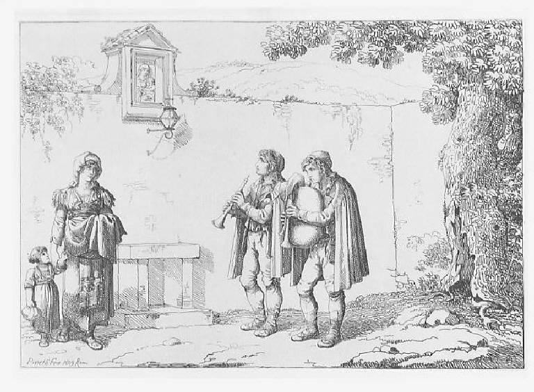 Pifferari, Musici (stampa smarginata, elemento d'insieme) di Pinelli Bartolomeo, Pinelli Bartolomeo (sec. XIX)