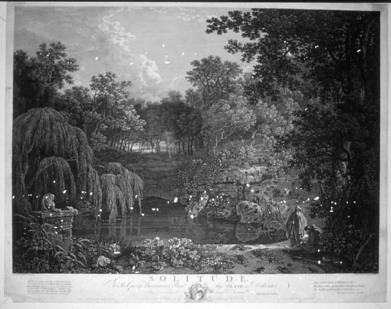 Solitudine, Paesaggio con figure (stampa) di Woollet William, Ellis William, Wilson Richard (sec. XVIII)