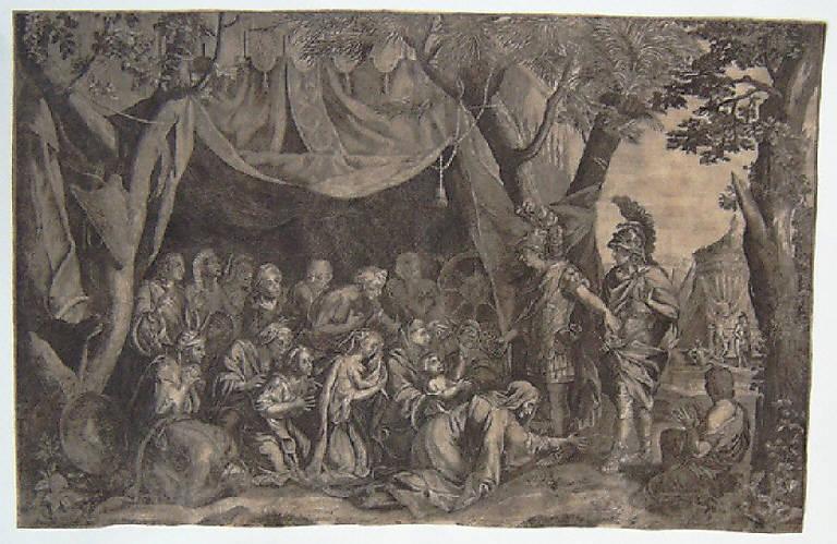 Alessandro Magno riceve l'omaggio della famiglia di Dario (stampa smarginata) di Le Brun Charles (sec. XVII)
