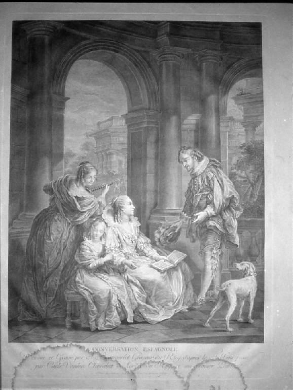 Conversazione spagnola, Interno nobiliare con dame e gentiluomo in conversazione (stampa) di Beauvarlet Jacques Firmin, Beauvarlet Jacques Firmin, Vanloo Charles-André detto Vanloo Carle (sec. XVIII)