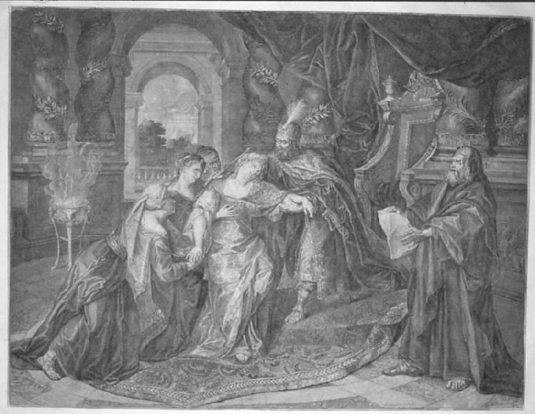 Ester sviene dinanzi ad Assuero (stampa) di Coypel Antoine - scuola francese (prima metà secc. XVII/ XVIII)