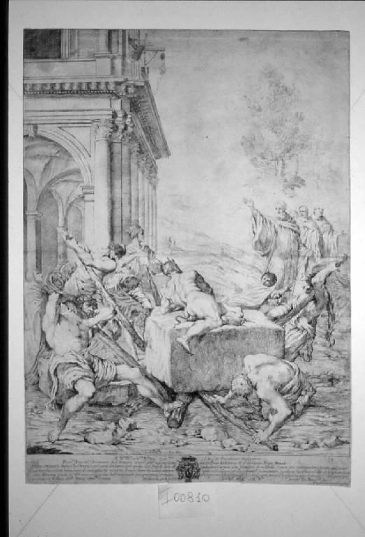 San Benedetto scaccia il diavolo, San Benedetto scaccia il diavolo (stampa) di Scaramuccia Luigi detto Luigi Perugino, Carracci Lodovico (sec. XVII)