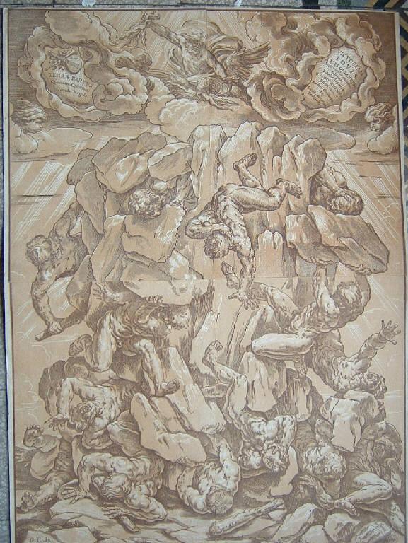 Giove fulmina i giganti (stampa smarginata) di Coriolano Bartolomeo, Reni Guido (sec. XVII)