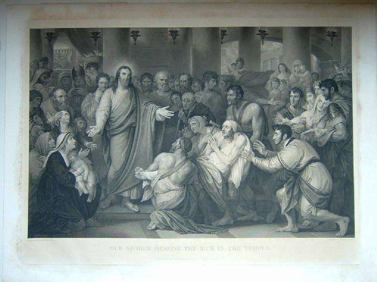 Il nostro Salvatore guarisce il malato nel tempio, Cristo guarisce i malati (stampa) di Heath Charles, West Benjamin (sec. XIX)
