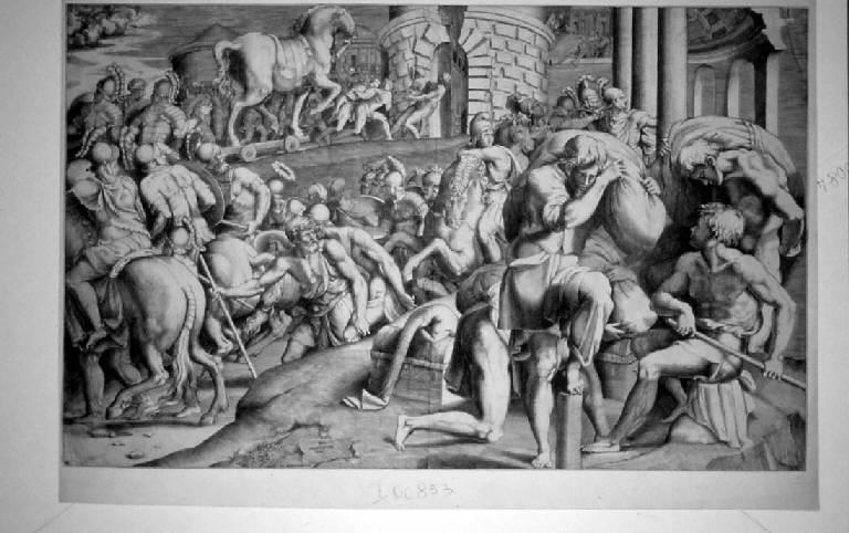 Cavallo di Troia (stampa smarginata) di Bonasone Giulio (sec. XVI)