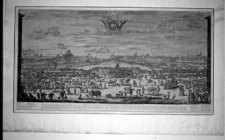 Veduta del Pont Neuf a Parigi (stampa) di Rosa Salvator - scuola italiana (sec. XVII)