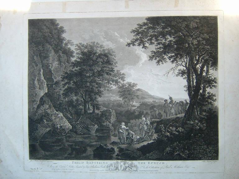 San Filippo battezza l'eunuco etiope (stampa) di Browne John, Both Jan Dirksz, Both Andries Dirksz (sec. XVIII)